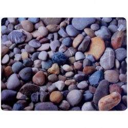 94-M9-8919 Podložka pod židli PCM hladká, s motivy - plážové kamínky, 90x120cm, tvar O